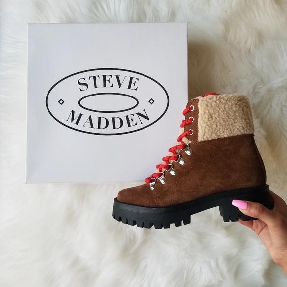 b29fae0f6debd Steve Madden Shoes | Bitter Faux Shearling Trim Boots | Poshmark